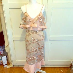 Spaghetti string v neck Embroidered dress